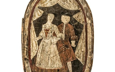 Early 19th Century Painted Bentwood Brides Box