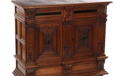 (-), Oak sideboard with a drawer with lion...