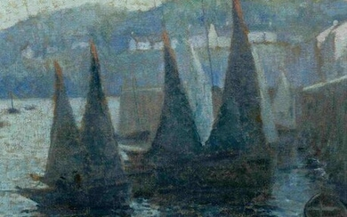 Eugene Chigot (French, 1860-1927) Voiliers au Port