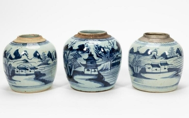 GROUP OF 3 CANTON PORCELAIN GINGER JARS
