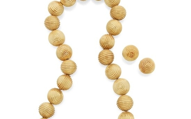 Gold Necklace and Pair of Earclips, Christopher Walling