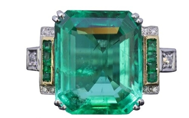 IMPORTANT 9CT COLOMBIAN EMERALD AND DIAMOND RING, set with a...