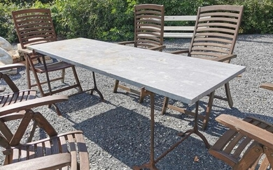 Italian marble garden table on two metal pedestals. {76 cm H...