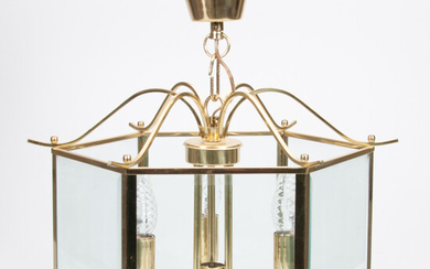LAMP / CEILING LAMP, Classic Lanterns, second half of the 20th century, brass frame, faceted glass.