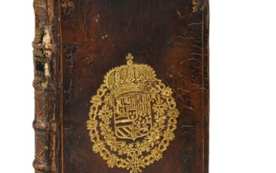 [LIBRARY OF PHILIPPE V OF SPAIN]. TACITUS Corneille. New translation of two works by Corneille Tacitus printed by Anisson & Posuel, Lyon, 1706, in-4° (190 x 125 mm), 191 pages, red edges, contemporary calf binding decorated on both boards with the...