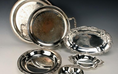 LOT OF SILVERPLATE SERVING ITEMS