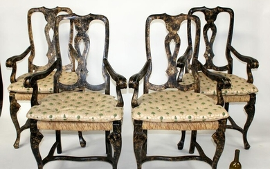Lot of 4 Queen Anne armchairs with rush seats