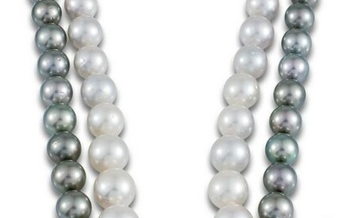 NECKLACE 31 PEARLS AUTRALIAN PEARL CLASP 2 GOLDS