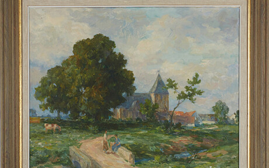 Oil painting landscape with church Landskap med kyrka oljemålning
