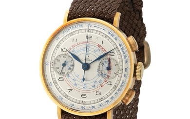 Omega. Fine and Special Chronograph Wristwatch in Yellow Gold, Reference 2088, With Multicolored Central Scales Dial