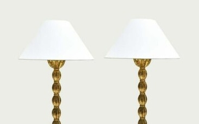 PAIR OF CONTEMPORARY GILT WOOD FLOOR LAMPS