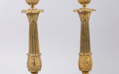 PAIR OF FRENCH EMPIRE STYLE GILT-BRONZE CANDLESTICKS, 19TH CENTURY