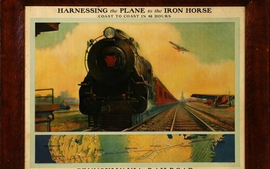 PRR AND A.T.&S.F. ADVERTISING POSTER AFTER GRIF TELLER