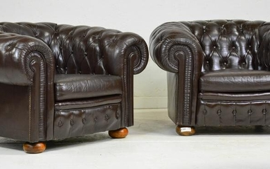 Pair Leather Button Tufted Club Chairs