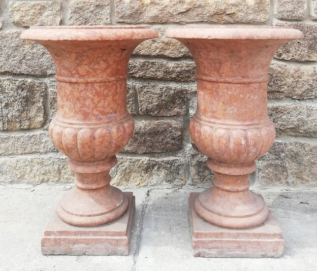 Pair of Medici vases - single block - H 80 cm - Verona red marble - about 1900
