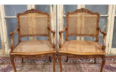 Pair of fine antique French Louis XV style armchairs, cane b...