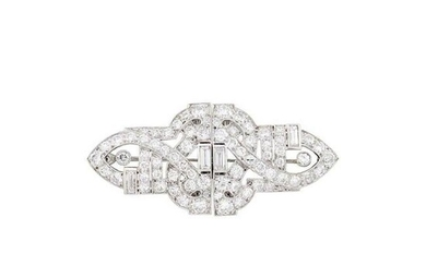 Platinum and Diamond Double Clip-Brooch