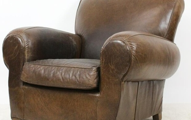 Pottery Barn Brown Leather Club Chair