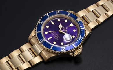 ROLEX, A YELLOW GOLD SUBMARINER WITH PURPLE DIAL, REF. 16618