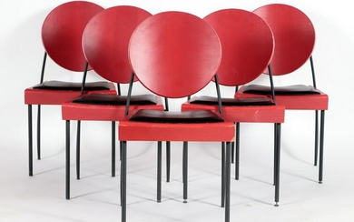 SET OF 5 RED WOOD AND IRON DINING ROOM CHAIRS