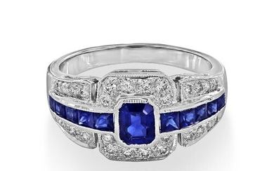 Sapphire Ring set with 1.02ct. sapphires and 0.27 ct. diamon...