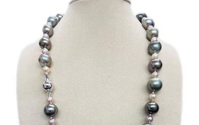 Silver 925 - Freshwater pearl, Tahitian pearl - Necklace