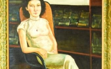 Singed Chinese Mid Century Oil Portrait Painting