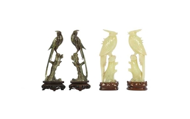 TWO PAIRS OF CHINESE HARDSTONE FIGURES OF PARADISE FLYCATCHERS.