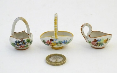 Three Continental miniature baskets with hand painted