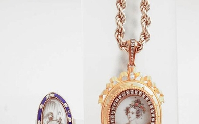 Victorian Tested 10-Karat Yellow-Gold and Enamel Mourning Ring and a Yellow-Gold and Diamond Locket with Chain, Last Quarter 19th Centu