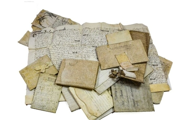 Yorkshire. Collection of deeds, indentures and documents on vellum, 17th-19th century