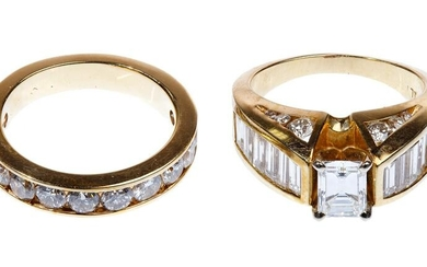 14k Yellow Gold and Diamond Engagement Ring and