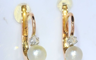 18 kt. Pink gold - Earrings Pearls - Diamonds, French Antique 1900's - NO RESERVE PRICE