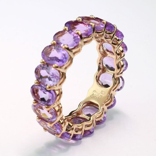 18 kt. Pink gold - Ring - 6.40 ct Amethysts
