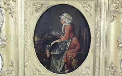 18th century French School oil on tin panel after Angelica Kauffman - kitchen interior with a maid plucking a turkey, in good gilt frame, 24cm x 19cm