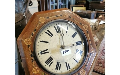 19th C. inlaid wag o the wall clock with brass weights. {32 ...