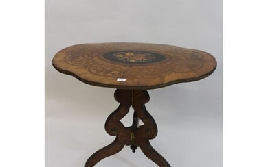 19th Century French floral ringwood marquetry inlaid tilt to...