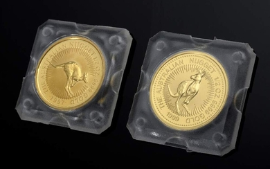 2 Various GG 999.9 coins: The Australia Nugget, 50 Dollars,...