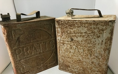 2 X AUTHENTIC 1930'S TWO GALLON PRATTS PETROL CANS BOTH WITH...