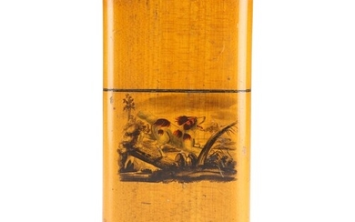 A 19TH CENTURY SATINWOOD CIGAR CASE, rounded rectangular wit...