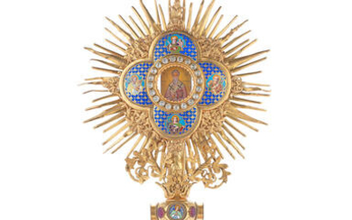 A 19th century Continental gilt brass and champlevé enamel Monstrance