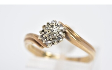 A 9CT GOLD DIAMOND CLUSTER RING, the cluster set with single...