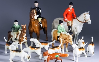 A Beswick Pottery Hunting Group, comprising - huntsman and...