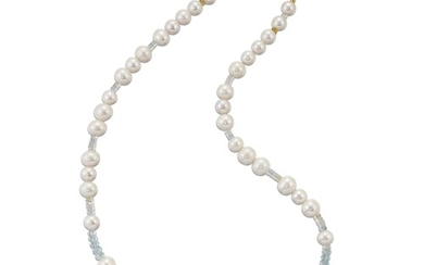 A CULTURED PEARL AND GEMSTONE BEAD NECKLACE, cultured pearls...