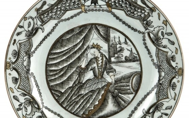 A Chinese Grisaille Decorated Porcelain Plate