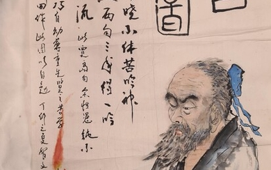 A Chinese painting, 20th century, of a scholar at his desk with books by candlelight, inscription