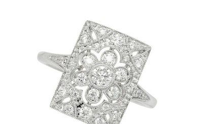 A DIAMOND RING in 18ct white gold, the rectangular face
