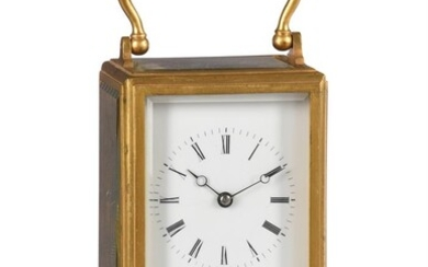 A FRENCH GILT BRASS CARRIAGE CLOCK IN ONE-PIECE CASE