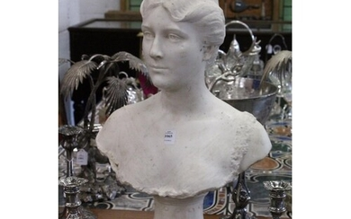 A GOOD 19TH CENTURY CARVED WHITE MARBLE BUST OF A LADY, ON A...
