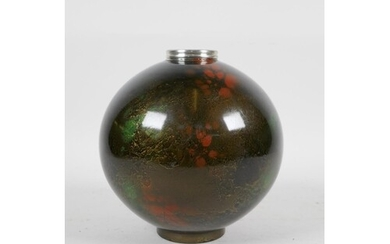 A Japanese enamelled metal globular vase with green and red ...